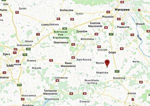 Położenie rezerwatu MODRZEWINA, Google Maps