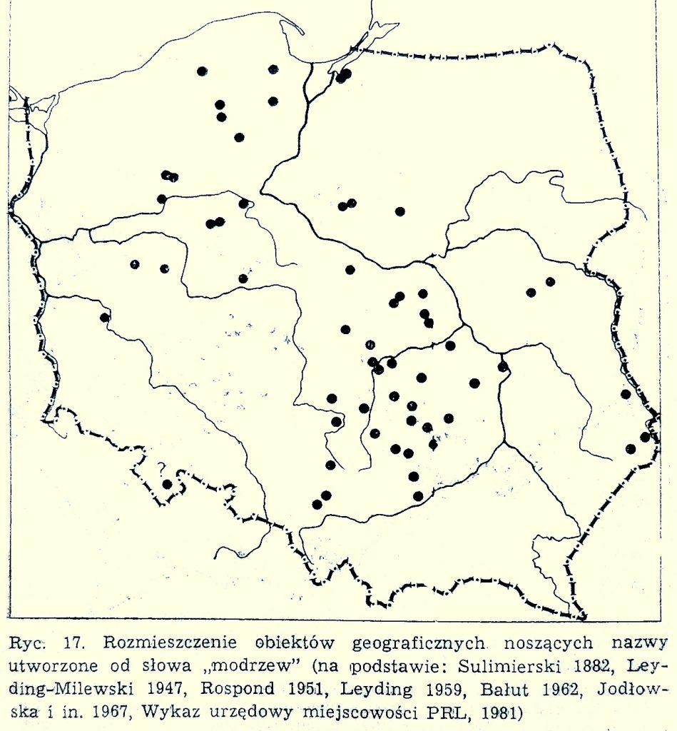 Nazwy geograficzne w Polsce pochodzące od-słowa MODRZEW