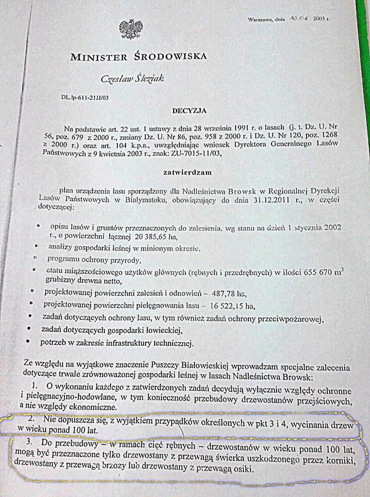 Decyzja MŚ, Cz. Śleziaka (SLD) z 2003 roku, str.1