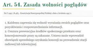 Konstytucja Rzeczypospolitej Polskiej' art54- www_arslege_pl